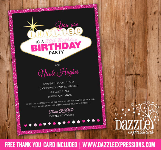 Printable glitter las vegas casino birthday invitation for 30th birthday decoration packages