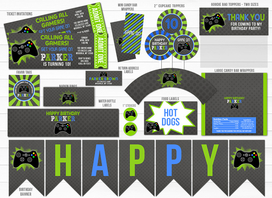 printable video game chalkboard party package