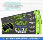 Video Game Chalkboard Ticket Invitation - FREE thank you card included