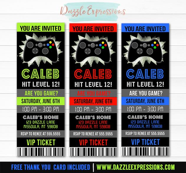 printable video game ticket birthday invitation