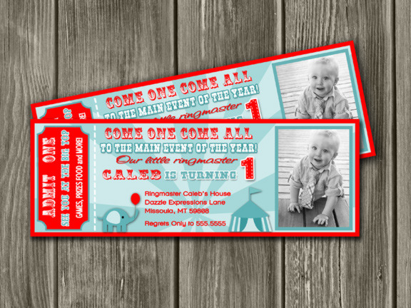 printable vintage circus ticket birthday invitation
