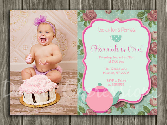 printable shabby chic tea party birthday invitation girls birthday