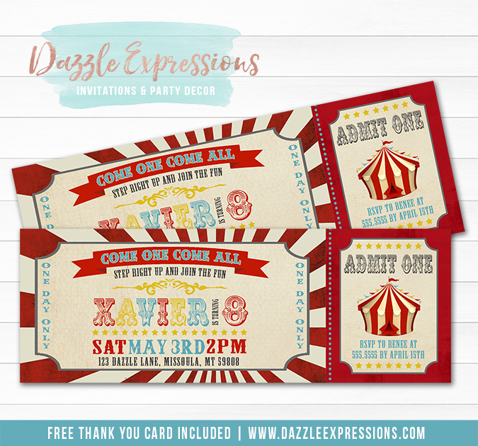 Vintage Circus Ticket Invitation 2 - FREE thank you card
