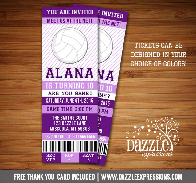 Volleyball Ticket Birthday Invitation - FREE thank you card included