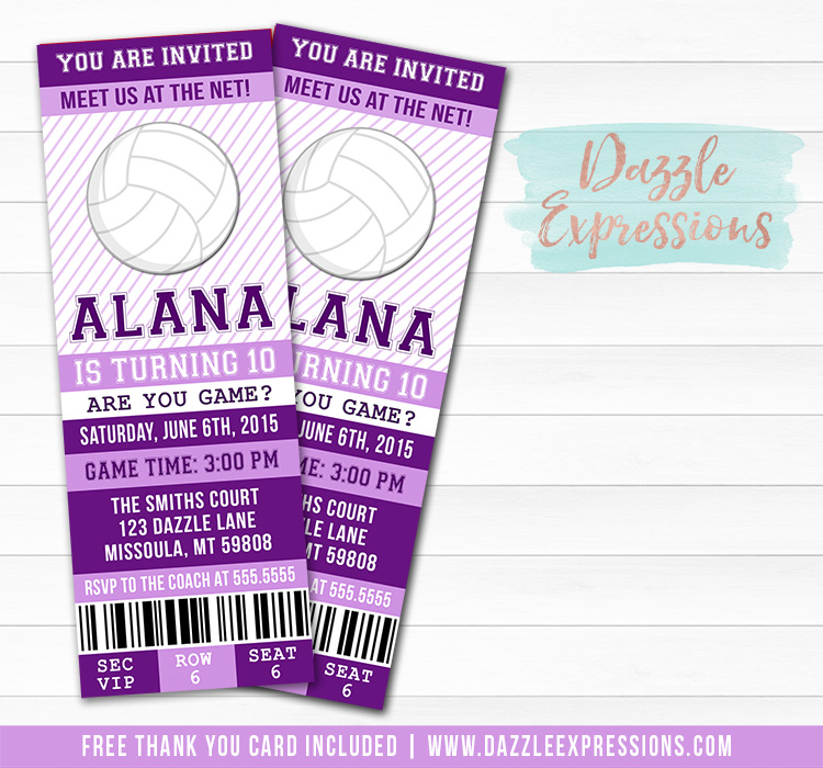 Volleyball Ticket Birthday Invitation 1 - FREE thank you card included