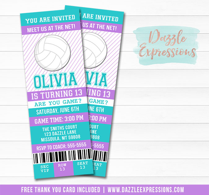 Volleyball Ticket Birthday Invitation 2 - FREE thank you card included