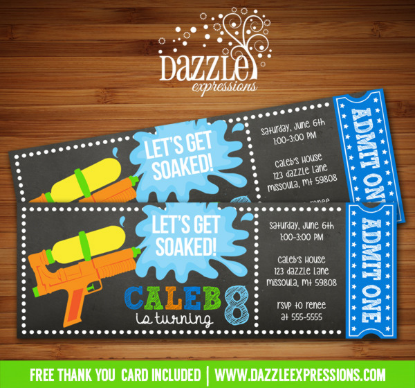 Water Gun Chalkboard Ticket Invitation 1 - FREE thank you card