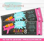 Water Gun Chalkboard Ticket Invitation 2 - FREE thank you card