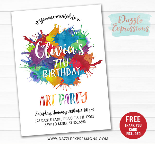 printable watercolor painting art party invitation - paint splatters