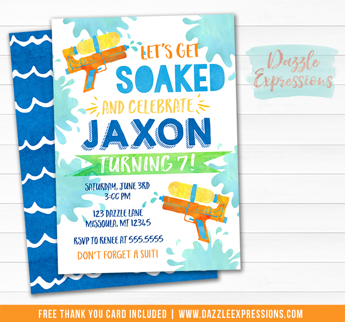 Water Gun Watercolor Invitation 1 - FREE thank you card