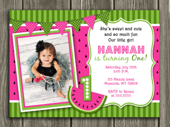 printable watermelon birthday photo invitation girl summer