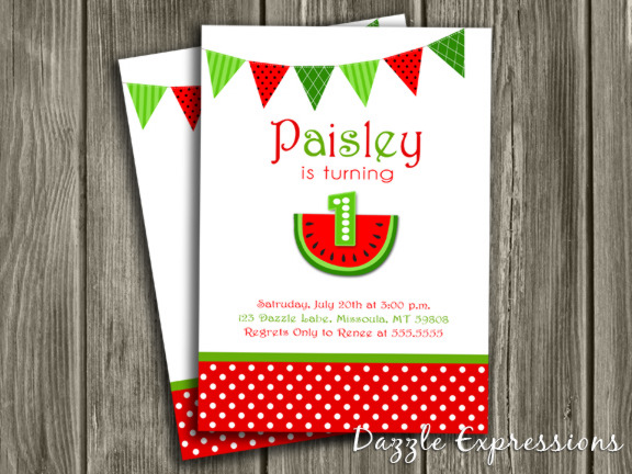 Watermelon Invitation 7 - Thank you card included
