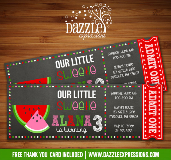 Watermelon Chalkboard Ticket Birthday Invitation - FREE thank you card
