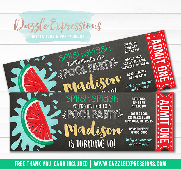 Watermelon Float Chalkboard Ticket Invitation - FREE thank you card