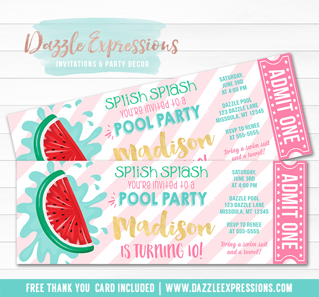 Watermelon Float Ticket Invitation - FREE thank you card