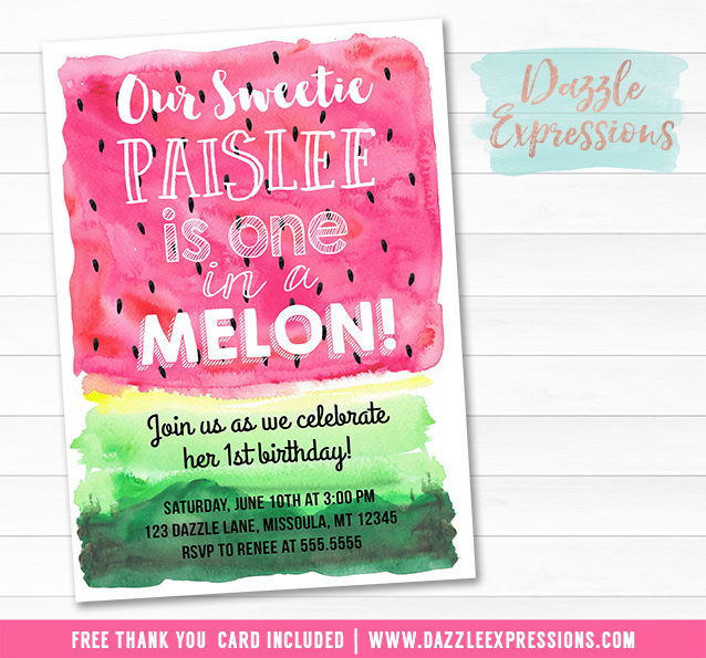 Printable Watercolor Watermelon Birthday Invitation One in a Melon