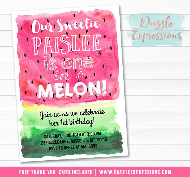 Printable Watercolor Watermelon Birthday Invitation One in a Melon