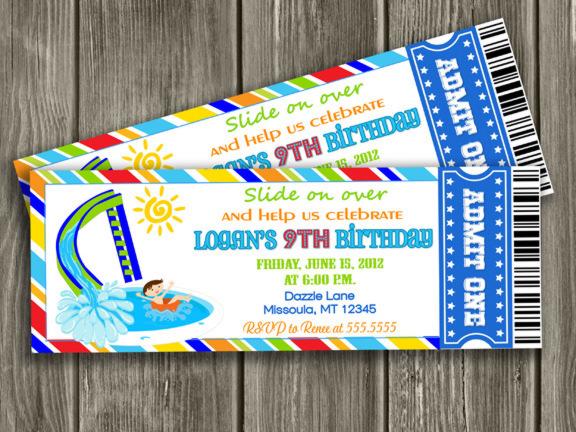 printable pool party ticket birthday invitation