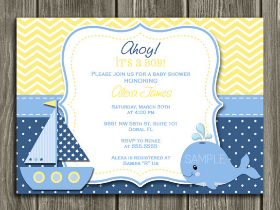 Whale - Nautical - Sailboat Birthday Invitation - Yellow Chevron