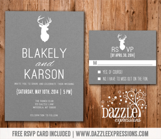Modern White and Gray Deer Wedding Invitation - RSVP Card included