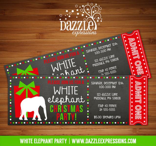 White Elephant Party Chalkboard Ticket Invitation 1