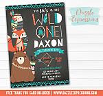 Wild One - Tribal Woodland Chalkboard Invitation 1 - FREE thank you card