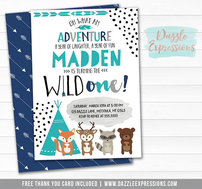 Wild One - Tribal Woodland Invitation 7 - FREE thank you card and back side