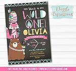 Wild One - Tribal Woodland Chalkboard Invitation 4 - FREE thank you card