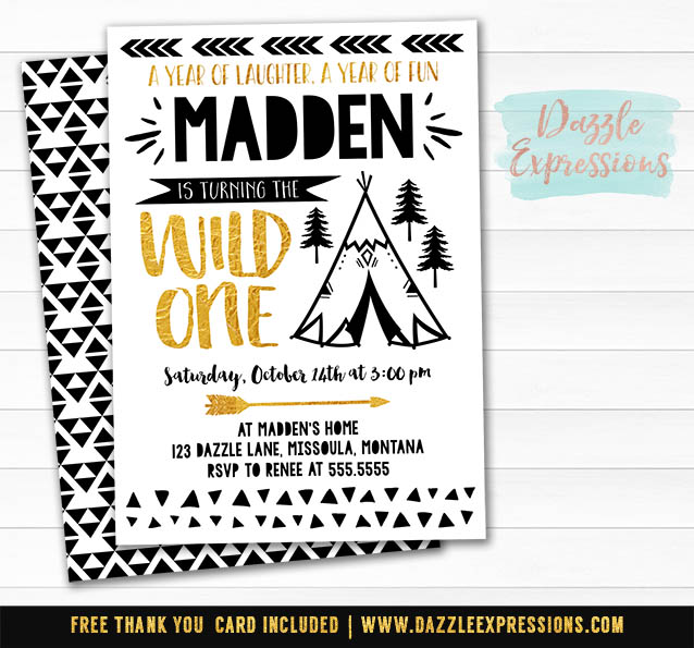 Wild One Invitation 10 - FREE thank you card