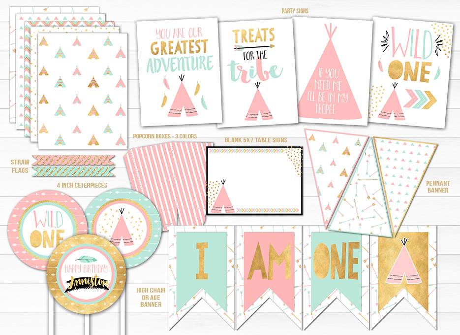 Girls Wild One Complete Party Package - Printable
