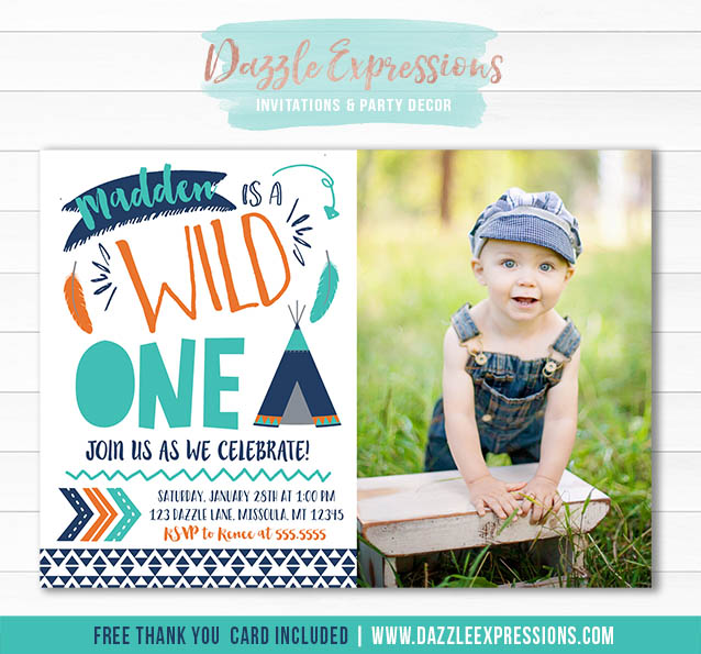 Wild One Invitation 13 - FREE thank you card