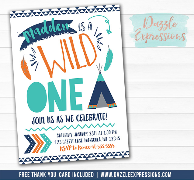 Wild One Invitation 14 - FREE thank you card
