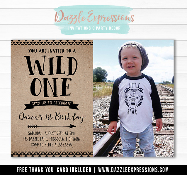 Wild One Invitation 15 - FREE thank you card
