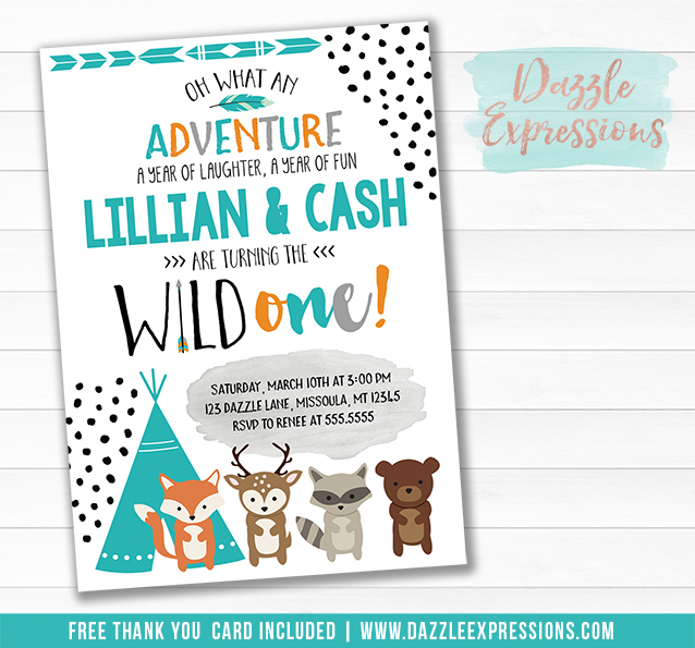 Twins Wild One - Tribal Woodland Invitation 2 - FREE thank you card