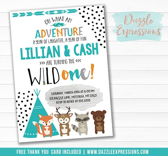 Twins Wild One - Tribal Woodland Invitation 2 - FREE thank you card