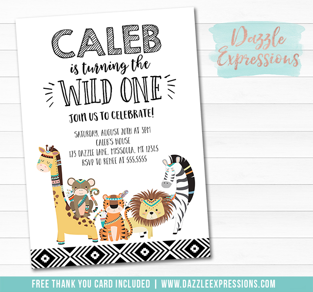 Wild One Jungle Invitation 1 - FREE thank you card included