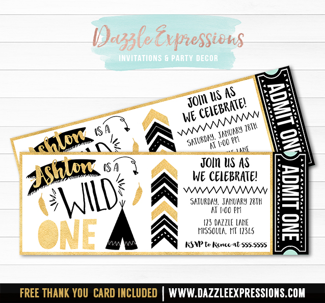 Wild One Ticket Invitation 2 - FREE thank you card
