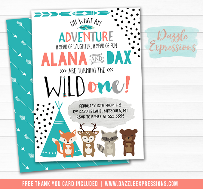 Twins Wild One - Tribal Woodland Invitation 1 - FREE thank you card