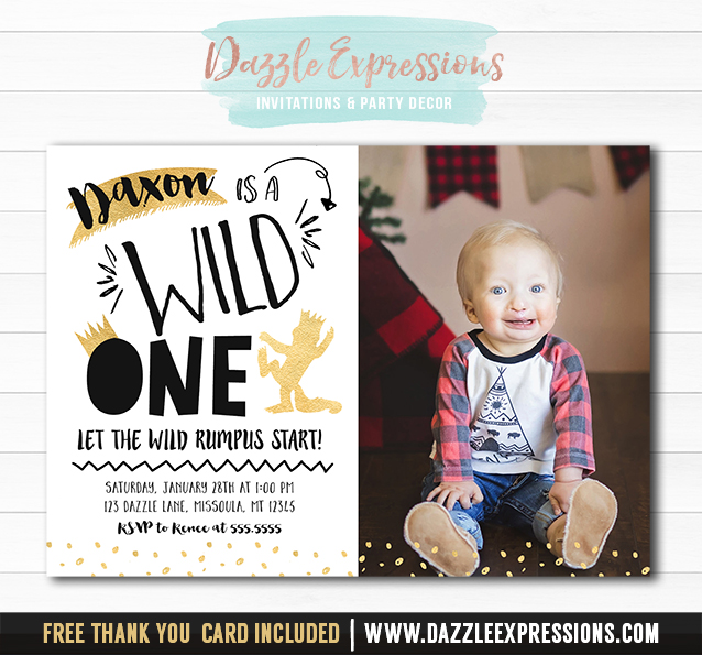 Where the Wild Things Are Inspired Invitation 2 - FREE thank you card