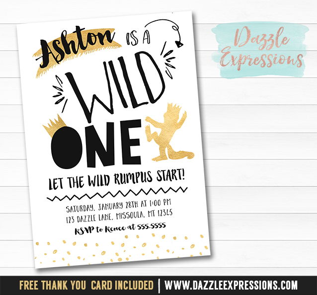Printable Black and Gold Where the Wild Things Are Inspired Birthday