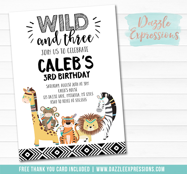 Wild and Three Jungle Invitation 1 - FREE thank you card included