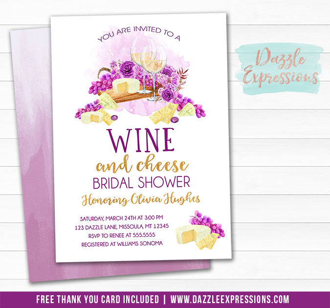 Wine and Cheese Bridal Shower Invitation - FREE thank you card