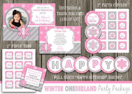 Winter Snowflake Complete Party Package - Pink and Gray