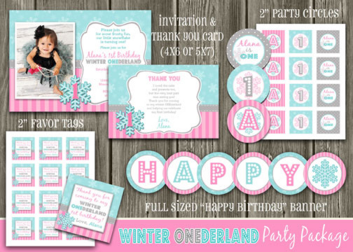 Winter Snowflake Complete Party Package - Pink and Teal