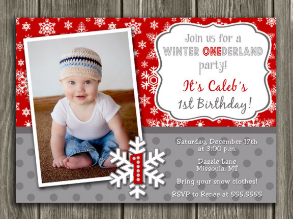 Winter Snowflake Birthday Invitation 4 - FREE thank you card included