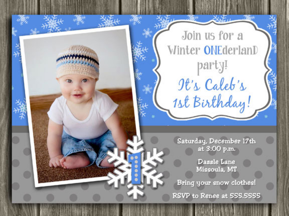 Winter Snowflake Birthday Invitation 6 - FREE thank you card included