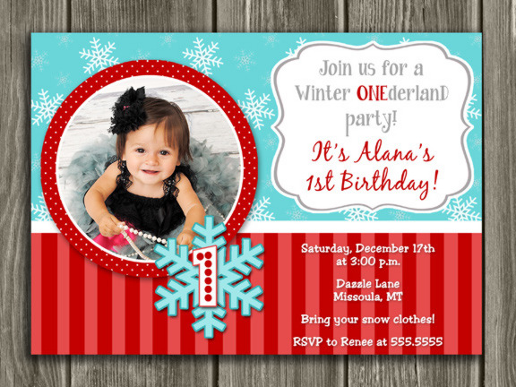 Winter Snowflake Birthday Invitation 7 - FREE thank you card included