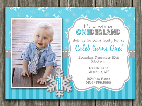 Winter Snowflake Birthday Invitation 5 - FREE thank you card included