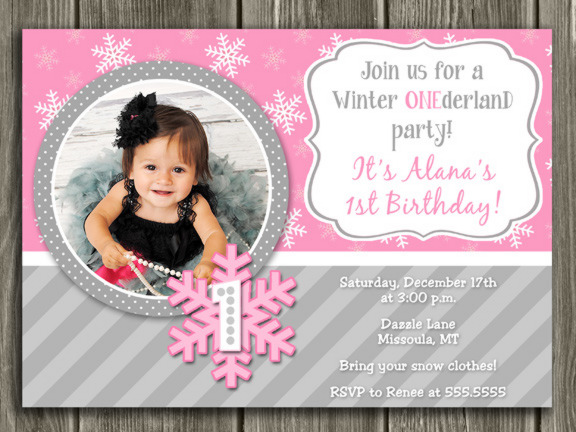 Winter Snowflake Birthday Invitation 3 - FREE thank you card included