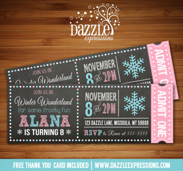 printable winter wonderland chalkboard ticket birthday invitation - teal and pink